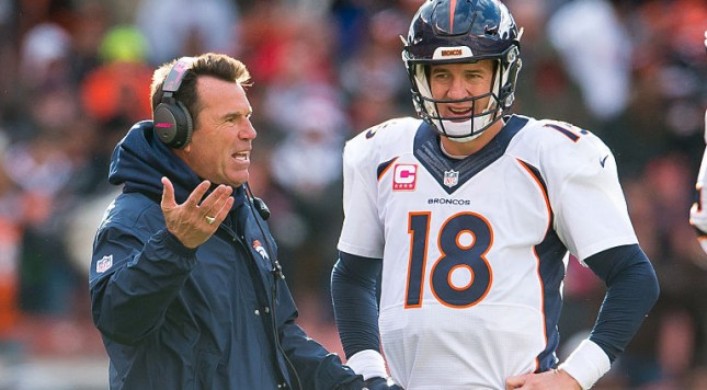 CLEVELAND, OH - OCTOBER 18: Head coach Gary Kubiak as quarterback Peyton Manning #18 of the Denver Broncos listens during during overtime against the Cleveland Browns at FirstEnergy Stadium on October 18, 2015 in Cleveland, Ohio. The Broncos defeated the Browns 26-23 in overtime. (Photo by Jason Miller/Getty Images)