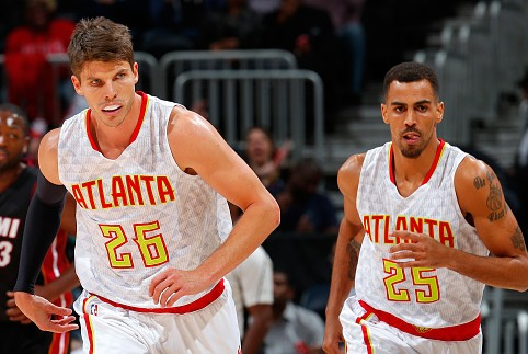 ATLANTA, GA - OCTOBER 18:  Kyle Korver #26 of the Atlanta Hawks runs down the court after hitting a three-point basket against the Miami Heat at Philips Arena on October 18, 2015 in Atlanta, Georgia.  NOTE TO USER User expressly acknowledges and agrees that, by downloading andor using this photograph, user is consenting to the terms and conditions of the Getty Images License Agreement.  (Photo by Kevin C. Cox/Getty Images)