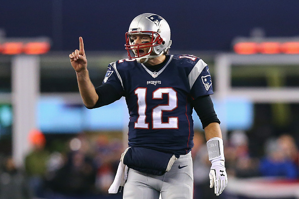 FOXBORO, MA - JANUARY 16:  Tom Brady #12 of the New England Patriots gestures after a play in the fourth quarter against the Kansas City Chiefs during the AFC Divisional Playoff Game at Gillette Stadium on January 16, 2016 in Foxboro, Massachusetts.  (Photo by Maddie Meyer/Getty Images)
