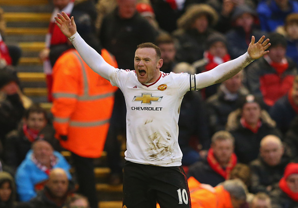 LIVERPOOL, ENGLAND - JANUARY 17:  Wayne Rooney of Manchester United celebrates after scoring the winning goal during the Barclays Premier League match between Liverpool and Manchester United at Anfield on January 17, 2016 in Liverpool, England.  (Photo by Alex Livesey/Getty Images)