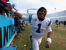 CHARLOTTE, NC - JANUARY 17:  Cam Newton #1 of the Carolina Panthers celebrates after defeating the Seattle Seahawks 31-24 in the NFC Divisional Playoff Game at Bank of America Stadium on January 17, 2016 in Charlotte, North Carolina.  (Photo by Streeter Lecka/Getty Images)