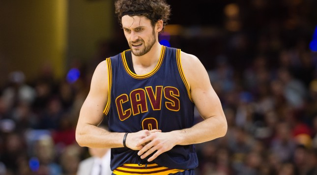 CLEVELAND, OH - JANUARY 18: Kevin Love #0 of the Cleveland Cavaliers reacts after an apparent injury to his hand during the first half against the Golden State Warriors at Quicken Loans Arena on January 18, 2016 in Cleveland, Ohio. NOTE TO USER: User expressly acknowledges and agrees that, by downloading and/or using this photograph, user is consenting to the terms and conditions of the Getty Images License Agreement. Mandatory copyright notice. (Photo by Jason Miller/Getty Images)