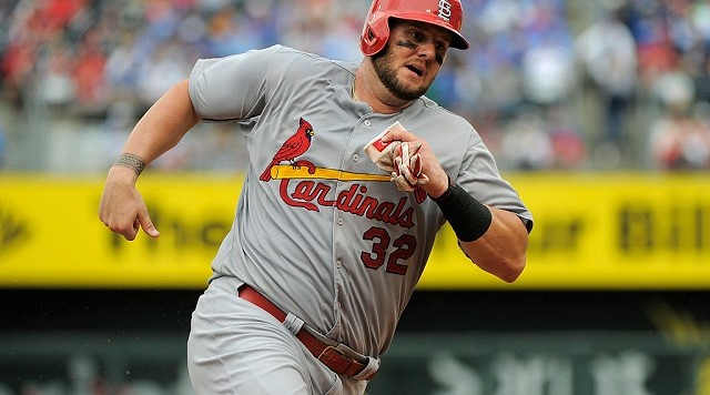KANSAS CITY, MO - MAY 24:  Matt Adams #32 of the St. Louis Cardinals rounds third as he heads home to score on a Yadier Molina single in the eighth inning during a game aKansas City Royals at Kauffman Stadium on May 24, 2015 in Kansas City, Missouri. (Photo by Ed Zurga/Getty Images) *** Local Caption *** Matt Adams