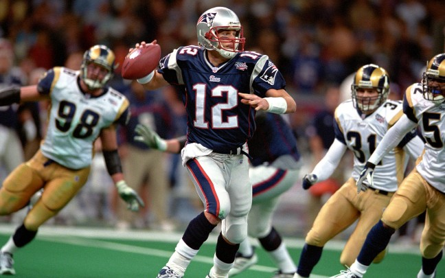 New England Patriots quarterback Tom Brady in Super Bowl XXXVI against the St. Louis Rams in the Louisiana Superdome on February 3,2002 in New Orleans, Louisiana. The Patriots defeated the Rams, 20-17.  (AP Photo/Tom DiPace)
