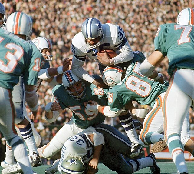 In Super Bowl VI, the Dallas Cowboys wore white and won their first title. The previous year, they lost the Super Bowl in their non-traditional blue uniforms as the designated home team.