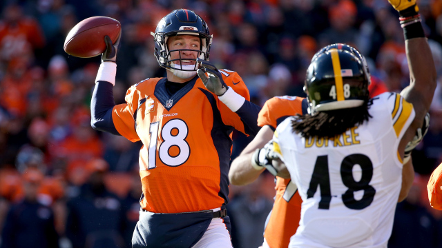 DENVER, CO - JANUARY 17:  Peyton Manning #18 of the Denver Broncos throws a pass in the first quarter against the Pittsburgh Steelers during the AFC Divisional Playoff Game at Sports Authority Field at Mile High on January 17, 2016 in Denver, Colorado.  (Photo by Doug Pensinger/Getty Images)