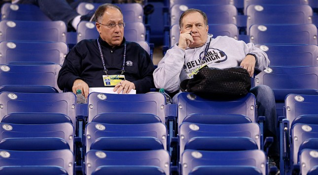 INDIANAPOLIS, IN - FEBRUARY 20: New England Patriots head coach Bill Belichick and friend Vinnie Colelli look on during the 2015 NFL Scouting Combine at Lucas Oil Stadium on February 20, 2015 in Indianapolis, Indiana. (Photo by Joe Robbins/Getty Images)