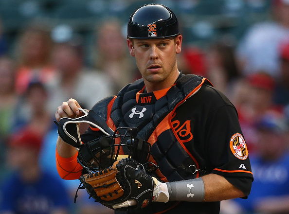 ARLINGTON, TX - AUGUST 28: Matt Wieters #32 of the Baltimore Orioles at Globe Life Park in Arlington on August 28, 2015 in Arlington, Texas. (Photo by Ronald Martinez/Getty Images)