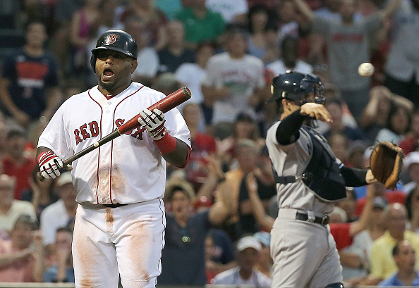 BOSTON, MA - SEPTEMBER 2: Pablo Sandoval #48 of the Boston Red Sox reacts after taking a called third strike with men on base against the New York Yankees in the eighth inning at Fenway Park on September 2, 2015 in Boston, Massachusetts. (Photo by Jim Rogash/Getty Images)