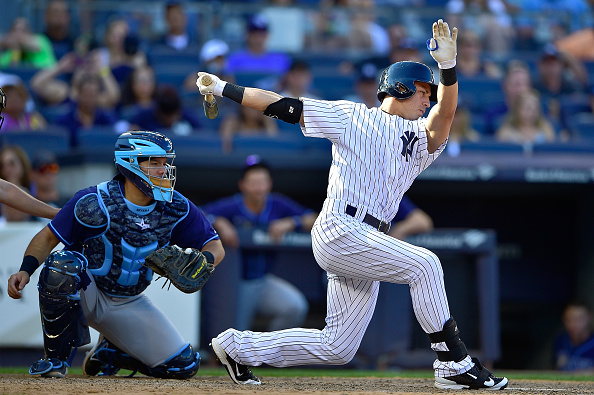 NEW YORK, NY - SEPTEMBER 05:  Jacoby Ellsbury #22 of the New York Yankees swings at a pitch in the ninth inning against the Tampa Bay Rays at Yankee Stadium on September 5, 2015 in New York City. The Tampa Bay Rays defeated the New York Yankees 3-2.  (Photo by Steven Ryan/Getty Images)