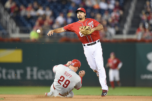 WASHINGTON, DC - SEPTEMBER 26:  Anthony Rendon #6 of the Washington Nationals forces out Cameron Rupp #29 of the Philadelphia Phillies on a Erik Kratz #28 (not pictured) fielders choice in the 10th inning during a baseball game at Nationals Park on September 26, 2015 in Washington, DC.  The Nationals won 2-1 in the 12th inning  (Photo by Mitchell Layton/Getty Images)
