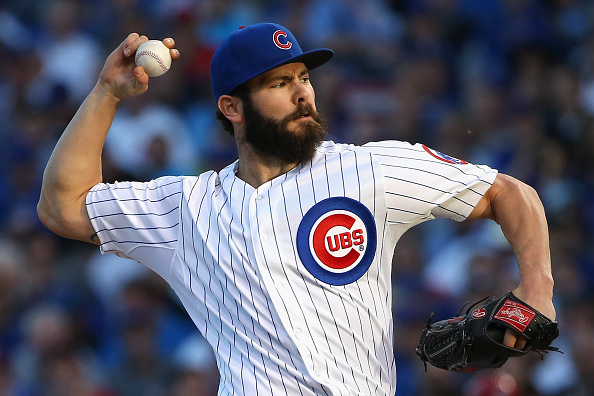 CHICAGO, IL - OCTOBER 12: Jake Arrieta #49 of the Chicago Cubs throws a pitch in the second inning against the St. Louis Cardinals during game three of the National League Division Series at Wrigley Field on October 12, 2015 in Chicago, Illinois. (Photo by Jonathan Daniel/Getty Images)