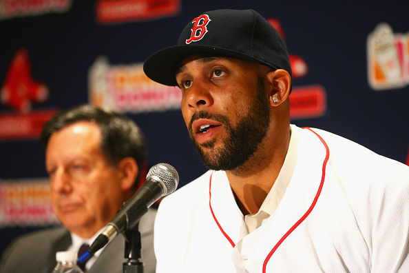 BOSTON, MA - DECEMBER 04: David Price addresses the media during his introductory press conference at Fenway Park on December 4, 2015 in Boston, Massachusetts. (Photo by Maddie Meyer/Getty Images)