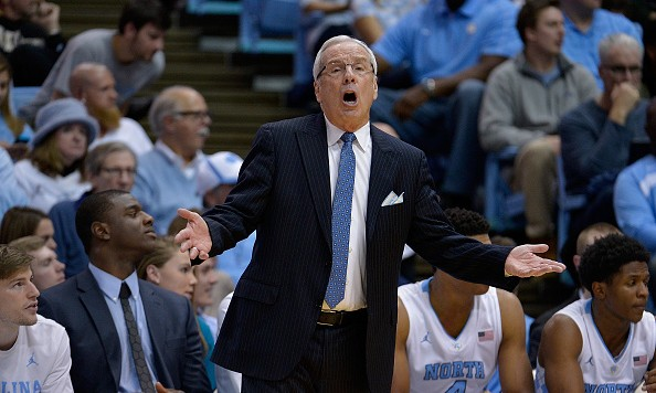 CHAPEL HILL, NC - JANUARY 20:  Head coach Roy Williams of the North Carolina Tar Heels  questions a call by the officials during their game against the Wake Forest Demon Deacons at the Dean Smith Center on January 20, 2016 in Chapel Hill, North Carolina. North Carolina won 83-68.  (Photo by Grant Halverson/Getty Images)