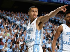CHAPEL HILL, NC - JANUARY 30:  Marcus Paige #5 of the North Carolina Tar Heels reacts during their game against the Boston College Eagles at Dean Smith Center on January 30, 2016 in Chapel Hill, North Carolina.  (Photo by Streeter Lecka/Getty Images)