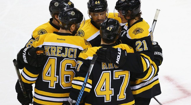 BOSTON, MA - FEBRUARY 22:  Kevan Miller #86 of the Boston Bruins celebrates with David Krejci #46, Torey Krug #47, Loui Eriksson #21 and Dennis Seidenberg #44 after scoring against the Columbus Blue Jackets during the first peirod at TD Garden on February 22, 2016 in Boston, Massachusetts.  (Photo by Maddie Meyer/Getty Images)