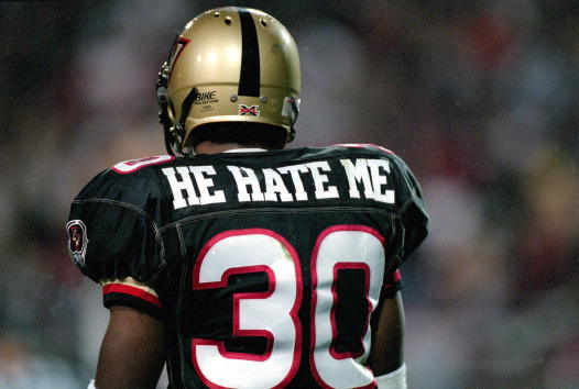 3 Feb 2001:  A rear view of Rod Smart #30 of the Las Vegas Outlaws walking on the field during the game against the New York/New Jersey Hitmen at the Sam Boyd Stadium in Las Vegas, Nevada.  The Outlaws defeated the Hitmen 19-0.Mandatory Credit: Todd Warshaw  /Allsport