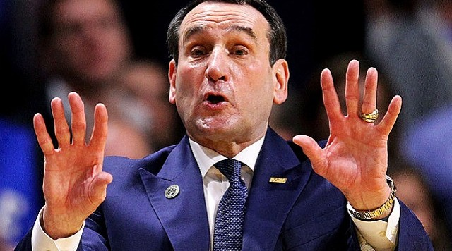 MIAMI, FL - JANUARY 25: Head coach Mike Krzyzewski of the Duke Blue Devils during the game against the Miami Hurricanes at the BankUnited Center on January 25, 2016 in Miami, Florida. (Photo by Rob Foldy/Getty Images)
