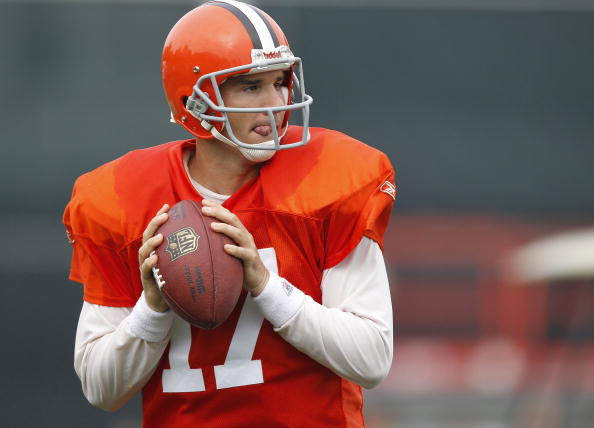 BEREA, OH - AUGUST 04:  Jake Delhomme #17 of the Cleveland Browns gets ready to throw a pass during training camp at the Cleveland Browns Training and Administrative Complex on August 4, 2010 in Berea, Ohio.  (Photo by Gregory Shamus/Getty Images)