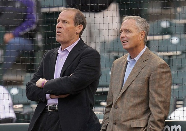 DENVER, CO - APRIL 13:  (L-R) Dick Monfort, Owner/Chairman and CEO of the Colorado Rockies and Dan O'Dowd, Executive Vice President and General Manager of the Colorado Rockies watch pregame festivities as the Rockies host the Arizona Diamondbacks at Coors Field on April 13, 2012 in Denver, Colorado.  (Photo by Doug Pensinger/Getty Images)