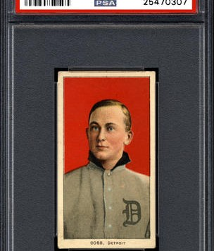 This undated photo provided by Professional Sports Authenticator shows one of seven Ty Cobb baseball cards, a baseball-card find of a lifetime, that were found crumpled paper bag in a dilapidated house. Card experts in Southern California say they have verified the legitimacy, and seven-figure value, of the seven identical Ty Cobb cards from the printing period of 1909 to 1911. Before the recent find there were only about 15 known to still exist. (Professional Sports Authenticator via AP)