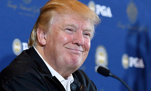 RANCHO PALOS VERDES, CA - MARCH 10:  Donald Trump attends a press conference to announce the PGA Grand Slam of Golf site at Trump National Golf Club Los Angeles March 10, 2015 in Palos Verdes Estates, California. (Photo by Kevork Djansezian/Getty Images)