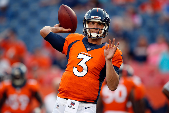 during preseason action at Sports Authority Field at Mile High on August 29, 2015 in Denver, Colorado.
