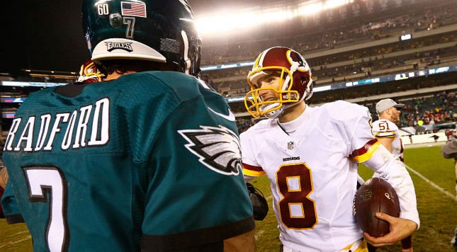 PHILADELPHIA, PA - DECEMBER 26: Quarterbacks Sam Bradford #7 of the Philadelphia Eagles and Kirk Cousins #8 of the Washington Redskins shake hands after a football game at Lincoln Financial Field on December 26, 2015 in Philadelphia, Pennsylvania. The Redskins defeated the Eagles 38-24. (Photo by Rich Schultz /Getty Images)