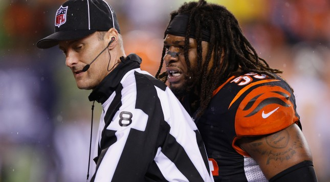 CINCINNATI, OH - JANUARY 09:  Vontaze Burfict #55 of the Cincinnati Bengals reacts in the third quarter against the Pittsburgh Steelers during the AFC Wild Card Playoff game at Paul Brown Stadium on January 9, 2016 in Cincinnati, Ohio.  (Photo by Joe Robbins/Getty Images)