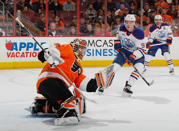 PHILADELPHIA, PA - MARCH 03: Michal Neuvirth #30 of the Philadelphia Flyers makes the first period save as Connor McDavid #97 of the Edmonton Oilers looks for the rebound at the Wells Fargo Center on March 3, 2016 in Philadelphia, Pennsylvania.  (Photo by Bruce Bennett/Getty Images)