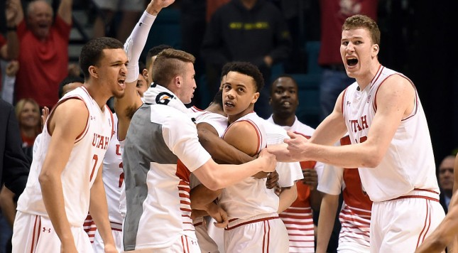 LAS VEGAS, NV - MARCH 11:  Utah Utes players including Jakob Poeltl (R) #42 celebrate with Lorenzo Bonam (2nd R) #15 of the Utes after he hit a layup at the buzzer to send their semifinal game of the Pac-12 Basketball Tournament against the California Golden Bears into overtime at MGM Grand Garden Arena on March 11, 2016 in Las Vegas, Nevada. Utah won 82-78 in overtime.  (Photo by Ethan Miller/Getty Images)