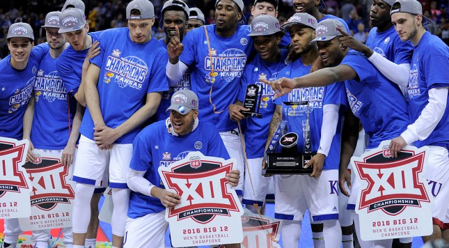 KANSAS CITY, MO - MARCH 12:  Members of the Kansas Jayhawks celebrate with the Big 12 Basketball Tournament trophy as they celebrates the win over West Virginia Mountaineers 81-71 at Sprint Center on March 12, 2016 in Kansas City, Missouri. (Photo by Ed Zurga/Getty Images)