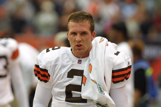 21 Oct 2001:  Tim Couch of the Cleveland Browns during the game against the Baltimore Ravens at Cleveland Browns Stadium in Cleveland, Ohio. The Browns won 24-14. DIGITAL IMAGE. Mandatory Credit : Tom Pidgeon/Allsport