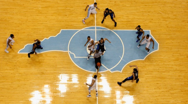 during their game at Dean Smith Center on February 17, 2016 in Chapel Hill, North Carolina.