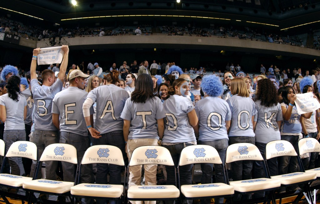 CHAPEL HILL, NC - FEBRUARY 7:  North Carolina Tar Heels fans react as the Duke University Blue Devils warm up before their game February 7, 2006, at the Dean Smith Center in Chapel Hill, North Carolina. Duke won 87-83.  (Photo By Grant Halverson/Getty Images)