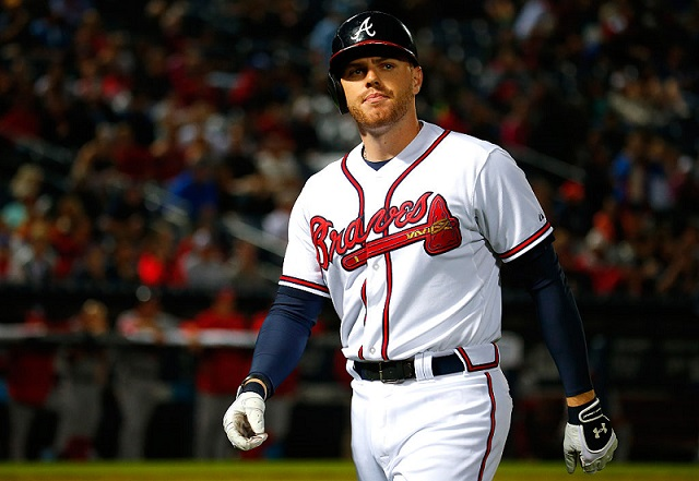 ATLANTA, GA - OCTOBER 01: Freddie Freeman #5 of the Atlanta Braves reacts after flying out in the seventh inning against the Washington Nationals at Turner Field on October 1, 2015 in Atlanta, Georgia. (Photo by Kevin C. Cox/Getty Images)