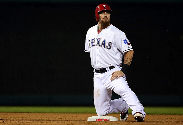 ARLINGTON, TX - OCTOBER 11: Josh Hamilton #32 of the Texas Rangers stretches after hitting a double in the seventh inning against the Toronto Blue Jays during game three of the American League Division Series on October 11, 2015 in Arlington, Texas. (Photo by Tom Pennington/Getty Images)