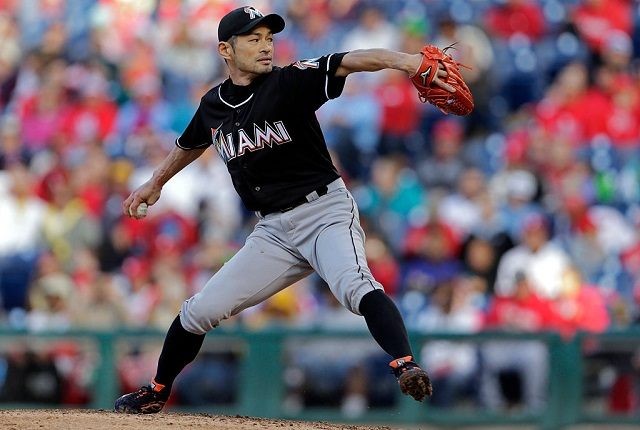 PHILADELPHIA, PA - OCTOBER 4: Ichiro Suzuki #51 of the Miami Marlins delivers a pitch during the eighth inning of an MLB game against the Philadelphia Phillies at Citizens Bank Park on October 4, 2015 in Philadelphia, Pennsylvania. The Phillies defeated the Marlins 7-2. (Photo by Adam Hunger/Getty Images)