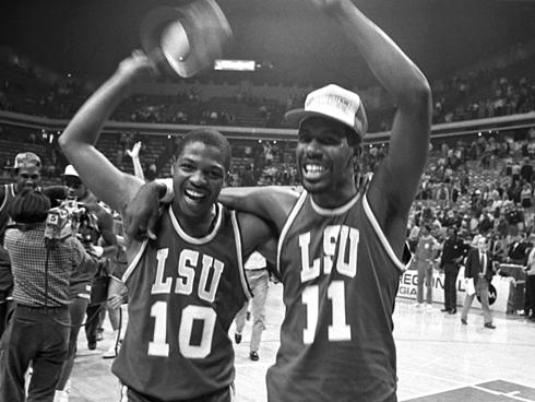 Derrick Taylor (left) and Anthony Wilson (right) after LSU won the 1986 Southeast Regional in Atlanta's Omni.