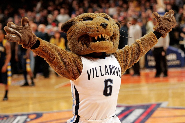 NEW YORK - MARCH 12:  The Villanova Wildcats mascot celebrates after defeating the Marquette Golden Eagles during the second round of the Big East Tournament at Madison Square Garden on March 12, 2009 in New York City.  (Photo by Michael Heiman/Getty Images)