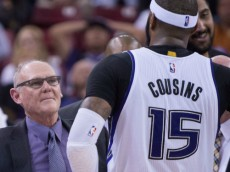 April 5, 2015; Sacramento, CA, USA; Sacramento Kings head coach George Karl (center) instructs in a huddle against the Utah Jazz during the fourth quarter at Sleep Train Arena. The Jazz defeated the Kings 101-95. Mandatory Credit: Kyle Terada-USA TODAY Sports