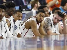 The Oklahoma bench watches play against Villanova during the second half of the NCAA Final Four tournament college basketball semifinal game Saturday, April 2, 2016, in Houston.  Villanova won 95-51.(AP Photo/David J. Phillip)