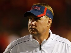 OXFORD, MS - SEPTEMBER 15:  Head coach Hugh Freeze of the Ole Miss Rebels watches pregame warmups before the game against the Texas Longhorns at Vaught-Hemingway Stadium on September 15, 2012 in Oxford, Mississippi.  (Photo by Scott Halleran/Getty Images)