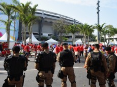 RIO DE JANEIRO, BRAZIL - JUNE 18:  Security measures outside the stadium prior to the 2014 FIFA World Cup Brazil Group B match between Spain and Chile at Maracana on June 18, 2014 in Rio de Janeiro, Brazil.  (Photo by Matthias Hangst/Getty Images)