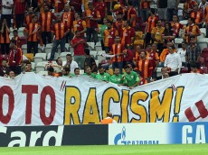 ISTANBUL, TURKEY -  SEPTEMBER 16: Galatasaray's supporters opens a banner against racism before the start of the UEFA Champions League group D football match between Galatasaray and Anderlecht at TT Arena Stadium on September16, 2014 in Istanbull, Turkey. (Photo by Burak Kara/Getty Images)