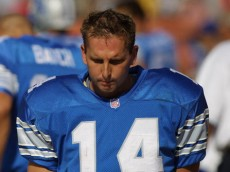 23 Sep 2001:  Quarterback Ty Detmer of the Detroit Lions looks dejected as he stands on the sideline late in the game  against the Cleveland Browns  at Cleveland Browns Stadium in Cleveland, Ohio. The Browns won 24-14. DIGITAL IMAGE. Mandatory Credit: Tom Pidgeon/Allsport