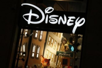 The logo of the Disney store on the Champs Elysee is seen in Paris