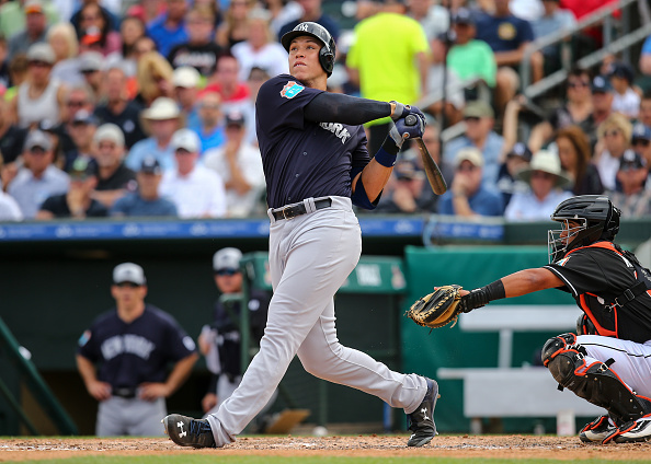 JUPITER, FL - MARCH 8: Aaron Judge #99 of the New York Yankees at bat during the spring training game against the Miami Marlins at Roger Dean Stadium on March 8, 2016 in Jupiter, Florida. (Photo by Rob Foldy/Getty Images)