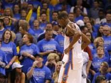 Oklahoma City's Kevin Durant (35) reacts during Game 6 of the Western Conference finals in the NBA playoffs between the Oklahoma City Thunder and the Golden State Warriors at Chesapeake Energy Arena in Oklahoma City, Saturday, May 28, 2016. Photo by Sarah Phipps, The Oklahoman