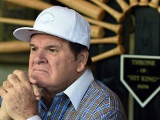 LAS VEGAS, NV - DECEMBER 15:  Former Major League Baseball player and manager Pete Rose speaks during a news conference at Pete Rose Bar & Grill to respond to his lifetime ban from MLB for gambling being upheld on December 15, 2015 in Las Vegas, Nevada. MLB Commissioner Rob Manfred on Monday announced that he was rejecting Rose's application for reinstatement.  (Photo by Ethan Miller/Getty Images)